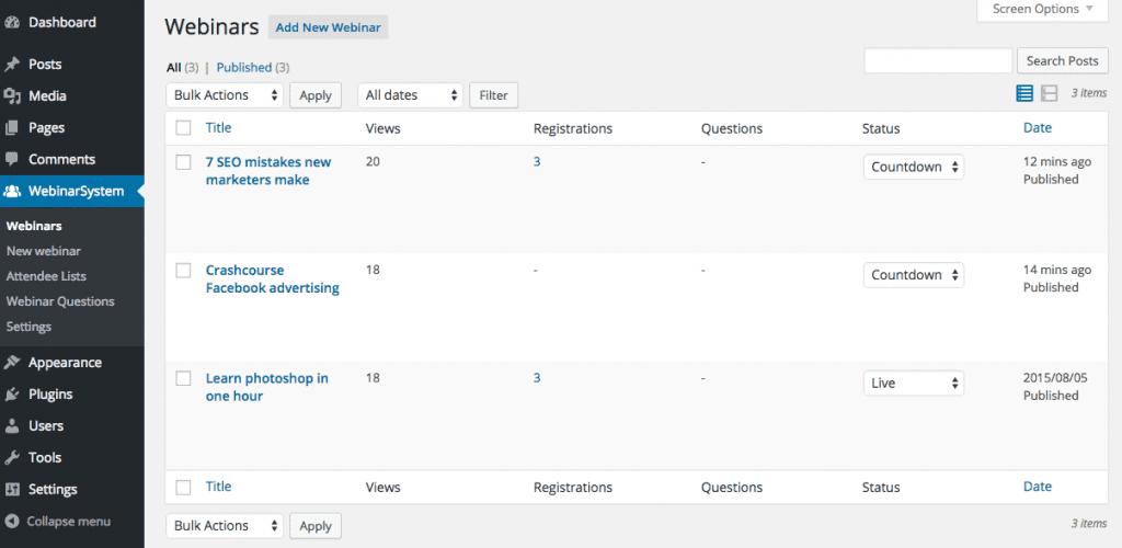 WP WebinarSystem - webinaroverview