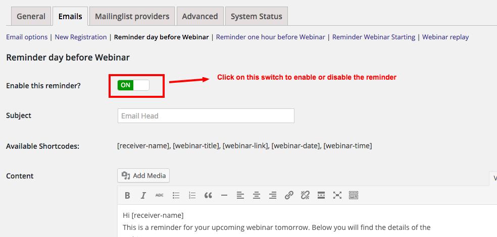 Reminder email day before webinar WP WebinarSystem – Reminder Email