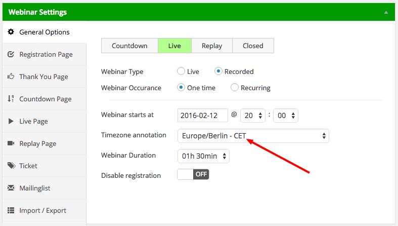 WP WebinarSystem - Timezone settings arrow
