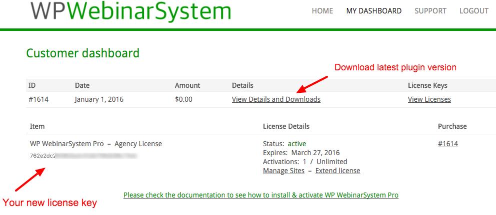 WP WebinarSystem dashboard - license key and download link