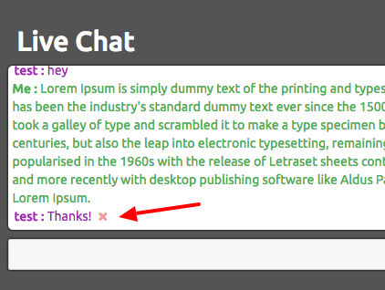 Live chat - hover to delete message
