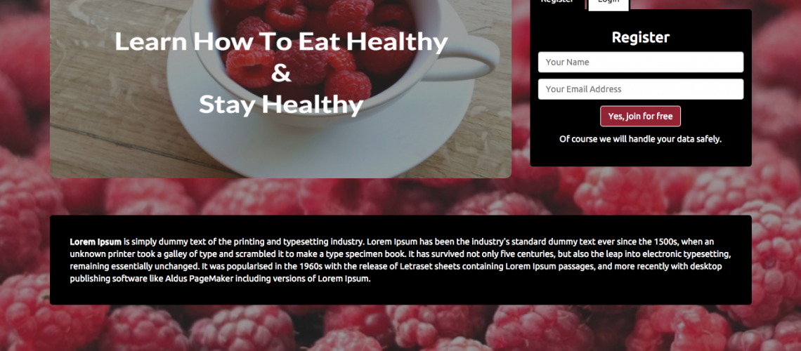 Healthy – registration page